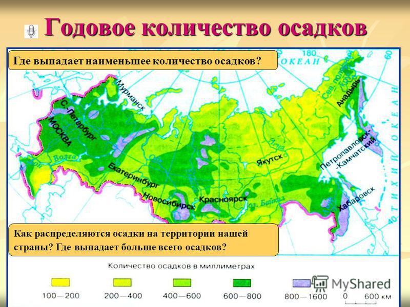 Годовое количество осадков Как распределяются осадки на территории нашей страны? Где выпадает больше всего осадков? Где выпадает наименьшее количество осадков?