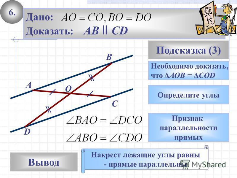 6. Вывод Подсказка (3) Необходимо доказать, что ΔАОВ = ΔCOD Накрест лежащие углы равны - прямые параллельны C D A B Дано: Доказать: AB ll CD O Определите углы Признак параллельности прямых