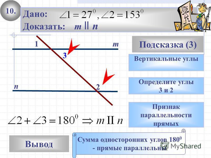 10. Вывод Подсказка (3) Вертикальные углы Сумма односторонних углов 180 0 - прямые параллельны m n Дано: Доказать: m ll n Определите углы 3 и 2 Признак параллельности прямых 1 2 3