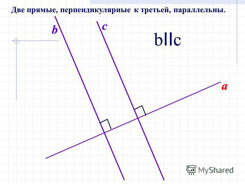 a b c b II c Две прямые, перпендикулярные к третьей, параллельны.