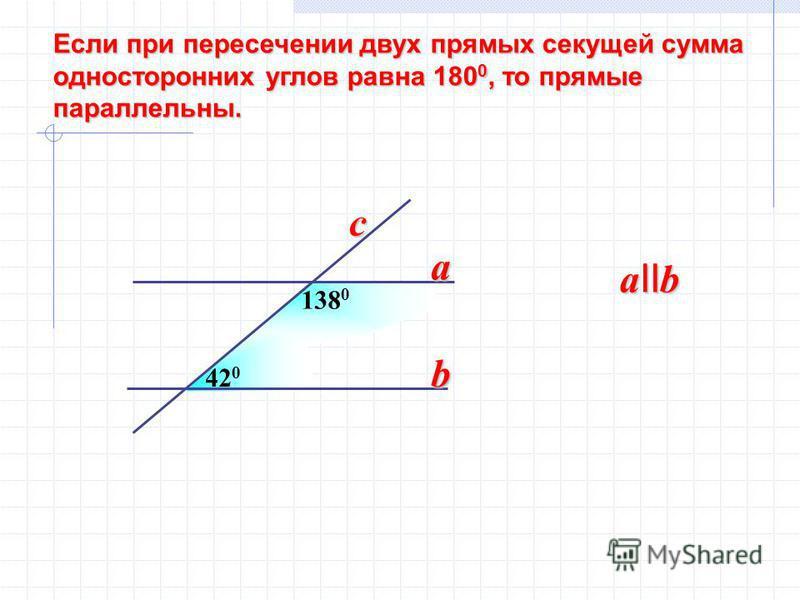 Если при пересечении двух прямых секущей сумма Если при пересечении двух прямых секущей сумма односторонних углов равна 180 0, то прямые односторонних углов равна 180 0, то прямые параллельны. параллельны. 420420 138 0 a b a II b c