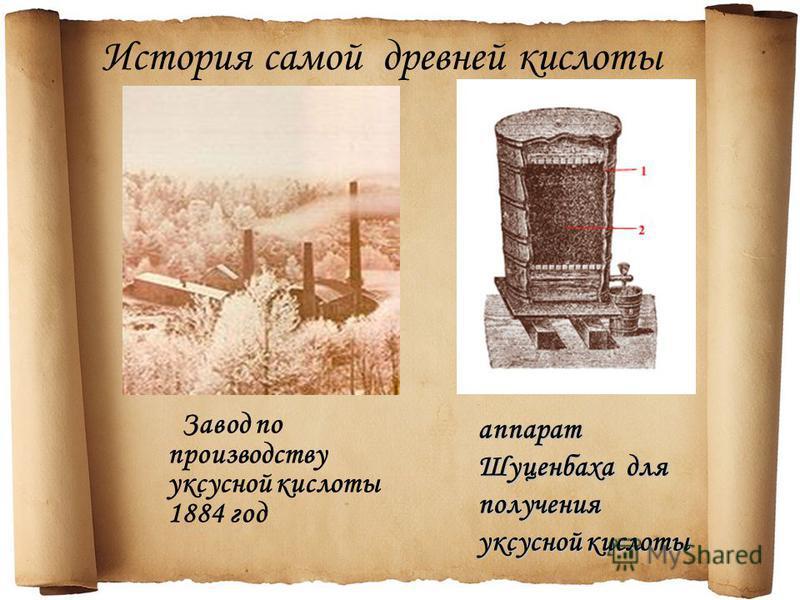История самой древней кислоты Завод по производству уксусной кислоты 1884 год аппарат Шуценбаха для получения уксусной кислоты