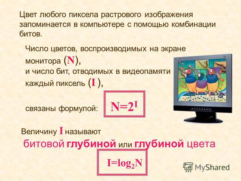 Число цветов, воспроизводимых на экране монитора ( N ), и число бит, отводимых в видеопамяти на каждый пиксель ( I ), связаны формулой: N=2 I Величину I называют битовой глубиной или глубиной цвета I=log 2 N Цвет любого пиксела растрового изображения