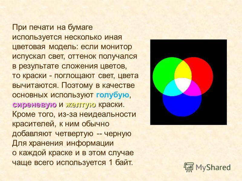 сиреневуюжелтую При печати на бумаге используется несколько иная цветовая модель: если монитор испускал свет, оттенок получался в результате сложения цветов, то краски - поглощают свет, цвета вычитаются. Поэтому в качестве основных используют голубую