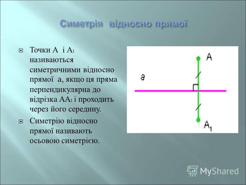 Точки А і А 1 називаються симетричними відносно прямої a, якщо ця пряма перпендикулярна до відрізка АА 1 і проходить через його середину. Симетрію відносно прямої називають осьовою симетрією.