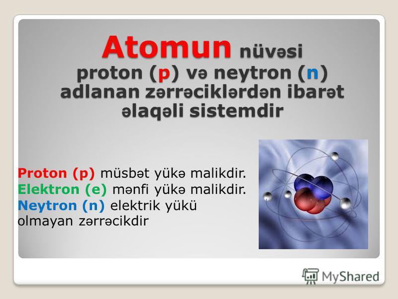 Atomun nüv ə si proton (p) v ə neytron (n) adlanan z ə rr ə cikl ə rd ə n ibar ə t ə laq ə li sistemdir Proton (p) müsb ə t yük ə malikdir. Elektron (e) m ə nfi yük ə malikdir. Neytron (n) elektrik yükü olmayan z ə rr ə cikdir