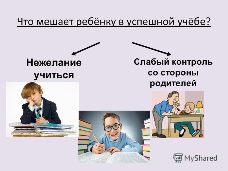 Что мешает ребёнку в успешной учёбе? Нежелание учиться Слабый контроль со стороны родителей