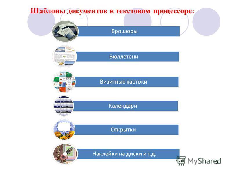 6 Шаблоны документов в текстовом процессоре: