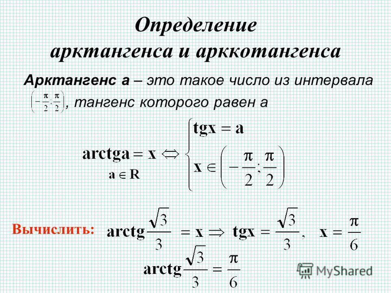 Определение арктангенса и арккотангенса Арктангенс а – это такое число из интервала, тангенс которого равен а Вычислить: