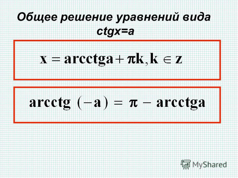 Общее решение уравнений вида ctgx=a