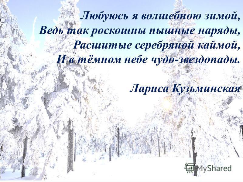 Любуюсь я волшебною зимой, Ведь так роскошны пышные наряды, Расшитые серебряной каймой, И в тёмном небе чудо-звездопады. Лариса Кузьминская
