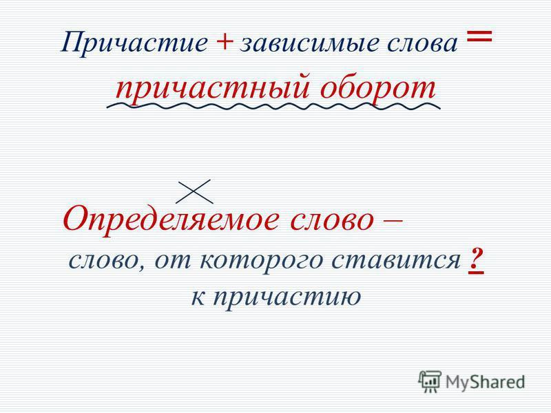 Причастие + зависимые слова = причастный оборот Определяемое слово – слово, от которого ставится ? к причастию