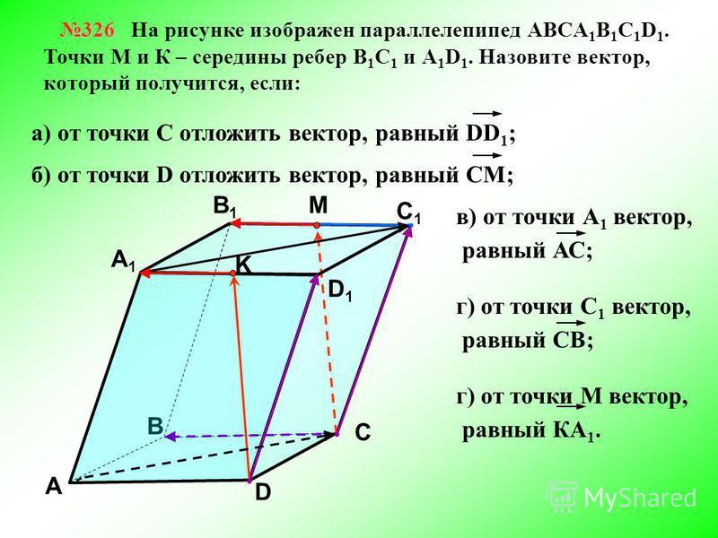 326 326 На рисунке изображен параллелепипед АВСA 1 B 1 C 1 D 1. Точки М и К – середины ребер В 1 С 1 и А 1 D 1. Назовите вектор, который получится, если: В А В1В1 С1С1 D1D1 D С K А1А1 M а) от точки С отложить вектор, равный DD 1 ; б) от точки D отлож