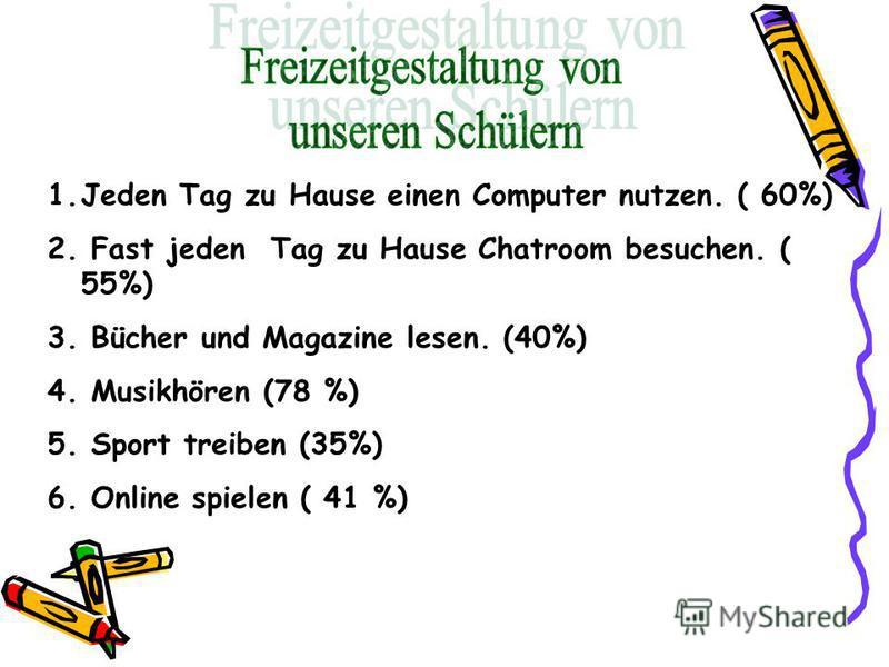 1.Jeden Tag zu Hause einen Computer nutzen. ( 60%) 2. Fast jeden Tag zu Hause Chatroom besuchen. ( 55%) 3. Bücher und Magazine lesen. (40%) 4. Musikhören (78 %) 5. Sport treiben (35%) 6. Online spielen ( 41 %)