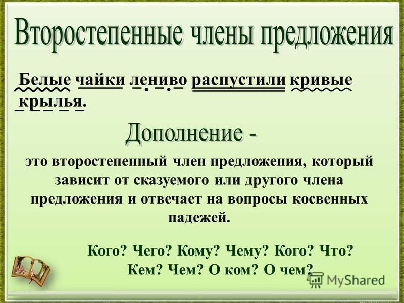 http://aida.ucoz.ru Белые чайки лениво распустили кривые крылья. это второстепенный член предложения, который зависит от сказуемого или другого члена предложения и отвечает на вопросы косвенных падежей. Кого? Чего? Кому? Чему? Кого? Что? Кем? Чем? О