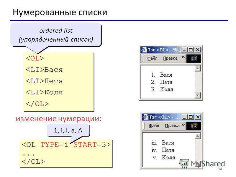 34 Нумерованные списки Вася Петя Коля Вася Петя Коля ordered list (упорядоченный список) изменение нумерации:...... 1, i, I, a, A
