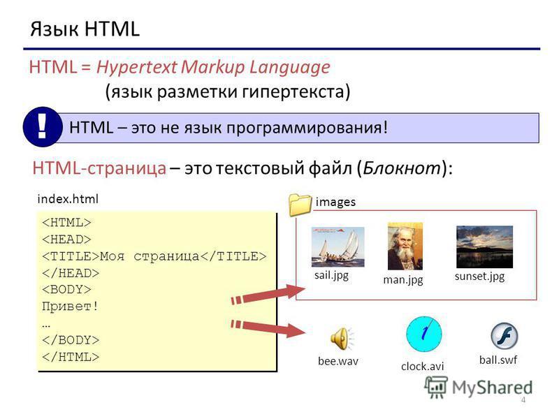 4 Язык HTML HTML = Hypertext Markup Language (язык разметки гипертекста) HTML – это не язык программирования! ! HTML-страница – это текстовый файл (Блокнот): Моя страница Привет! … Моя страница Привет! … index.html sail.jpg man.jpg sunset.jpg clock.a