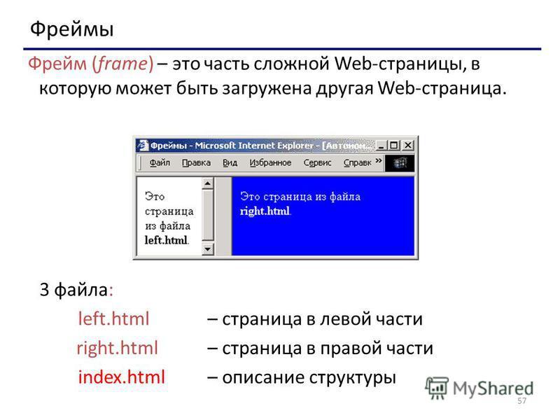 57 Фреймы Фрейм (frame) – это часть сложной Web-страницы, в которую может быть загружена другая Web-страница. 3 файла: left.html – страница в левой части right.html – страница в правой части index.html – описание структуры