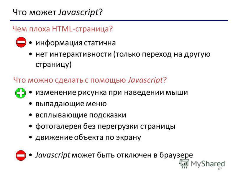 67 Что может Javascript? информация статична нет интерактивности (только переход на другую страницу) Чем плоха HTML-страница? Что можно сделать с помощью Javascript? изменение рисунка при наведении мыши выпадающие меню всплывающие подсказки фотогалер