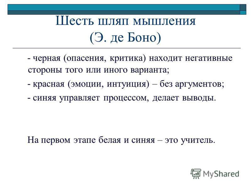 Шесть шляп мышления (Э. де Боно) - черная (опасения, критика) находит негативные стороны того или иного варианта; - красная (эмоции, интуиция) – без аргументов; - синяя управляет процессом, делает выводы. На первом этапе белая и синяя – это учитель.