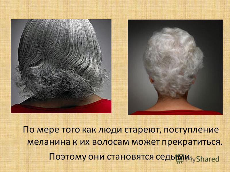 По мере того как люди стареют, поступление меланина к их волосам может прекратиться. Поэтому они становятся седыми.