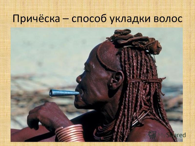 Причёска – способ укладки волос У африканских народов непривычные для нас причёски