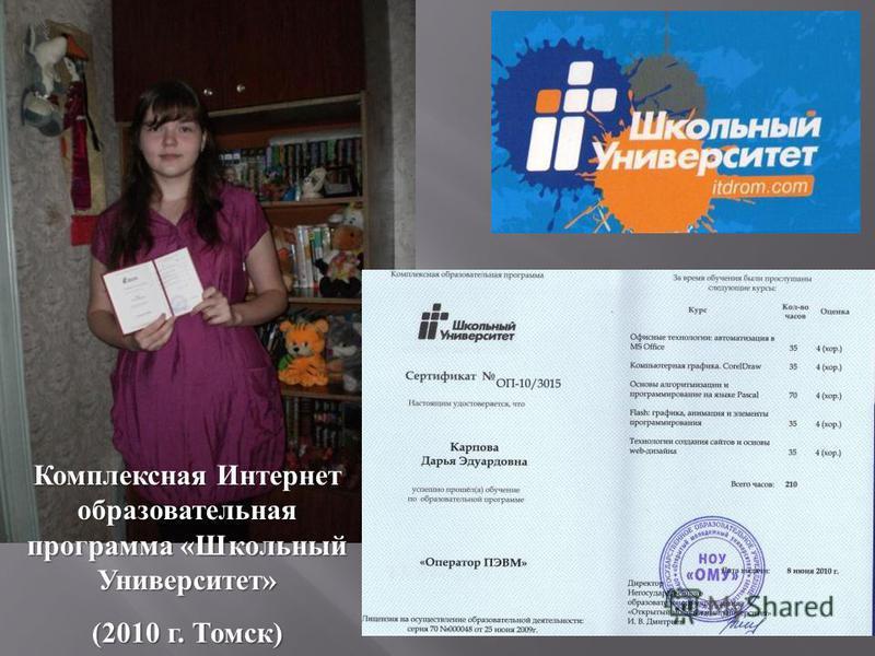 Комплексная Интернет образовательная программа « Школьный Университет » (2010 г. Томск )