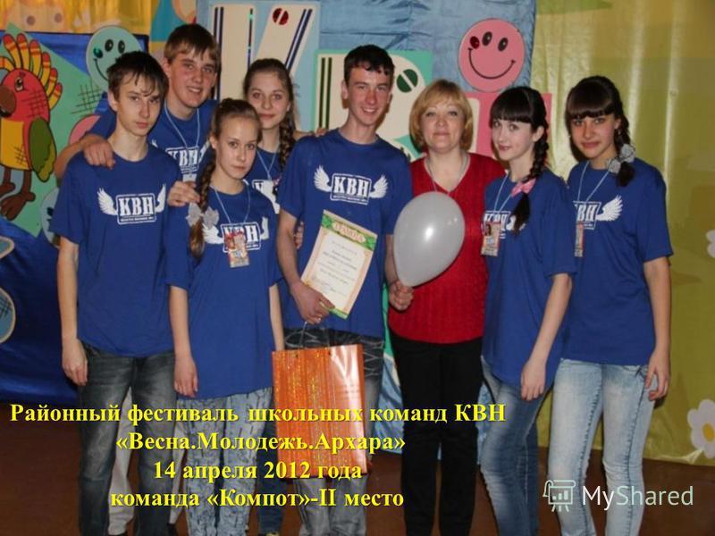 Районный фестиваль школьных команд КВН « Весна. Молодежь. Архара » 14 апреля 2012 года команда « Компот »-II место