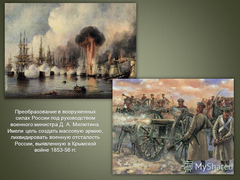 Преобразование в вооруженных силах России под руководством военного министра Д. А. Милютина. Имели цель создать массовую армию, ликвидировать военную отсталость России, выявленную в Крымской войне 1853-56 гг.