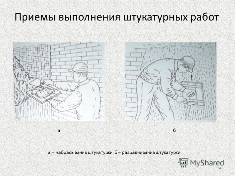 Приемы выполнения штукатурных работ аб а – набрасывание штукатурки, б – разравнивание штукатурки 14