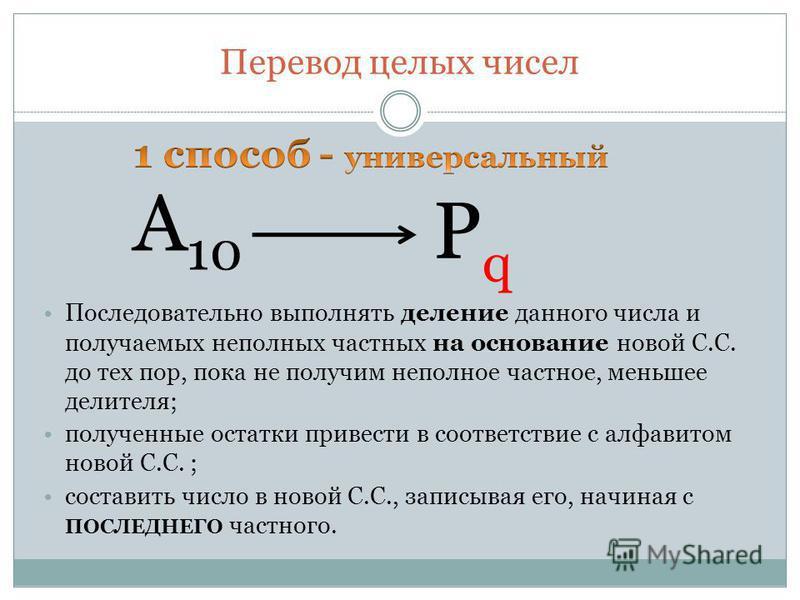 Перевод целых чисел Последовательно выполнять деление данного числа и получаемых неполных частных на основание новой С.С. до тех пор, пока не получим неполное частное, меньшее делителя; полученные остатки привести в соответствие с алфавитом новой С.С