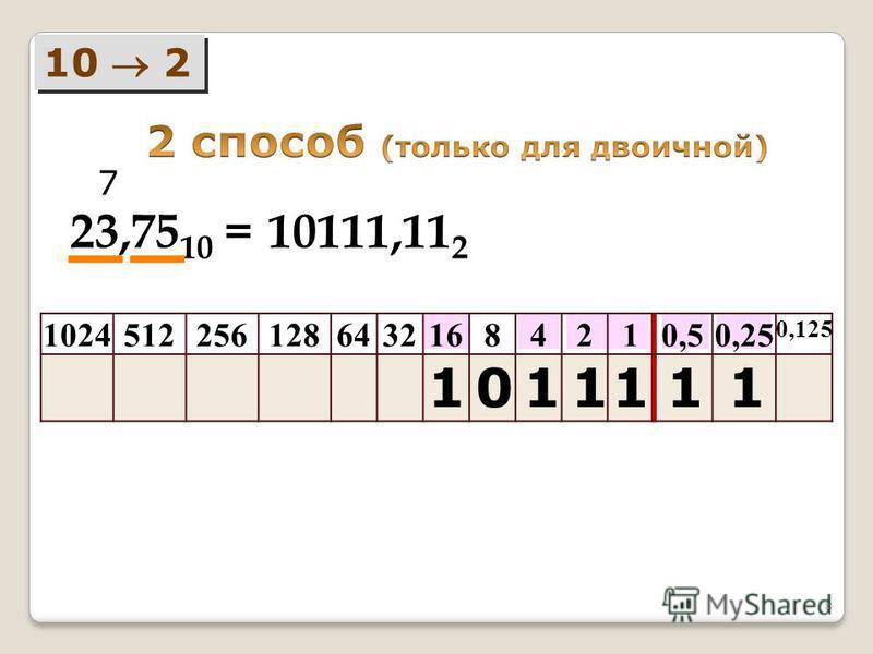 8 10 2 102451225612864321684210,50,25 0,125 23,75 10 = 1 7 111110 10111,11 2