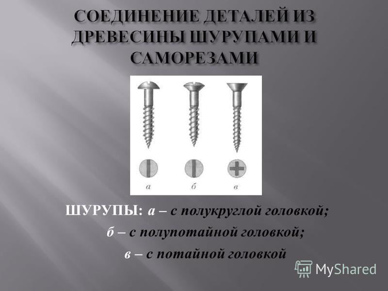 ШУРУПЫ : а – с полукруглой головкой ; б – с полупотайной головкой ; в – с потайной головкой