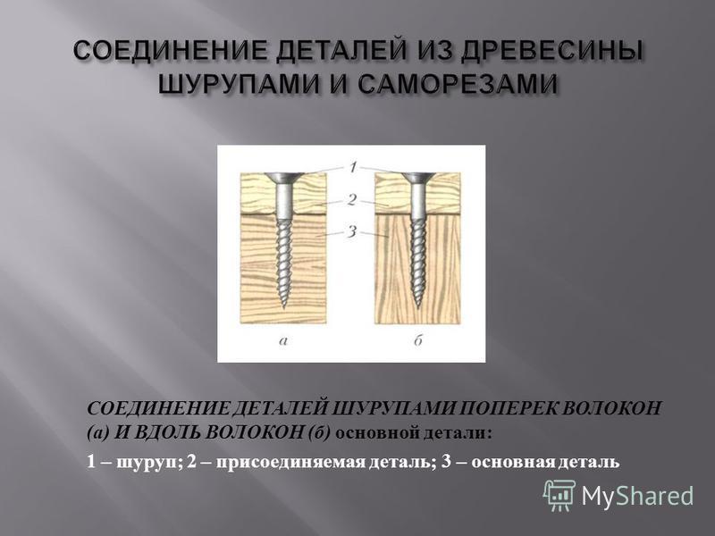 СОЕДИНЕНИЕ ДЕТАЛЕЙ ШУРУПАМИ ПОПЕРЕК ВОЛОКОН ( а ) И ВДОЛЬ ВОЛОКОН ( б ) основной детали : 1 – шуруп ; 2 – присоединяемая деталь ; 3 – основная деталь