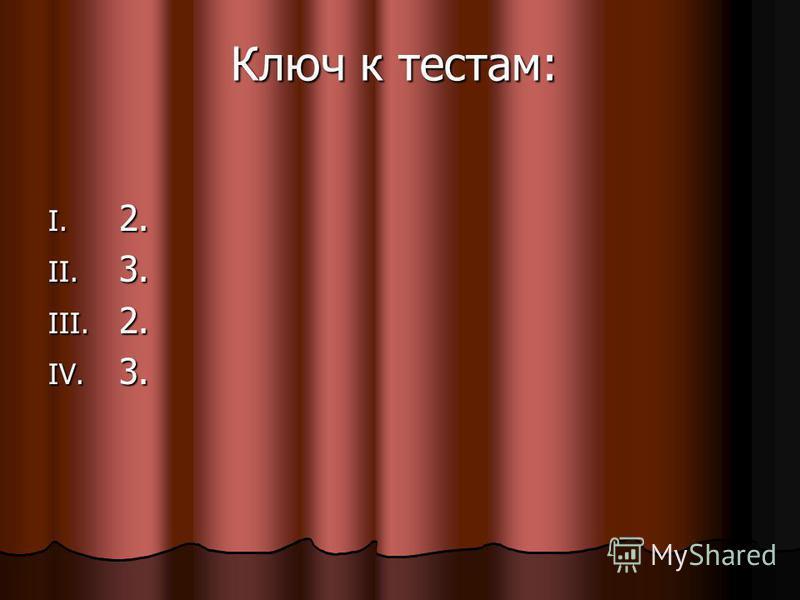 Ключ к тестам: I. 2. II. 3. III. 2. IV. 3.