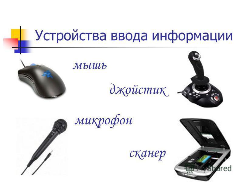 Устройства ввода информации мышь джойстик микрофон сканер