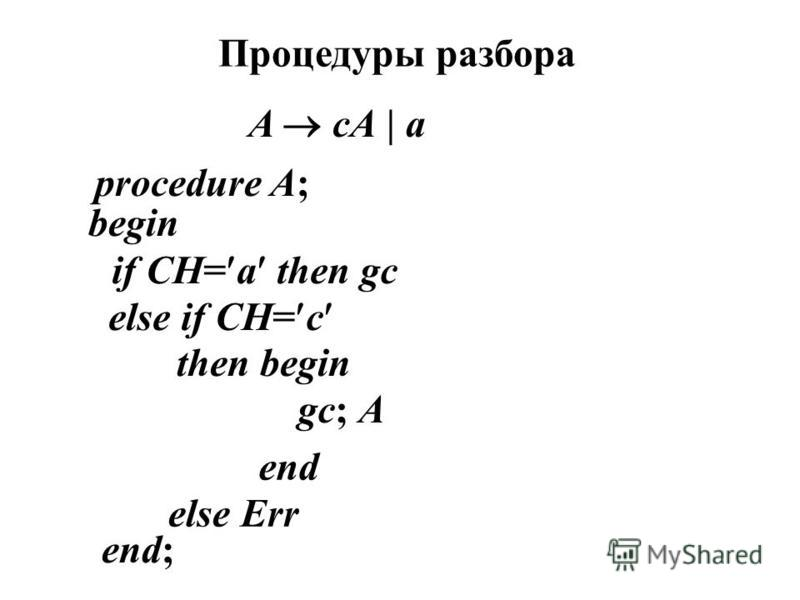 Процедуры разбора A cA | a procedure A; begin if CH= a then gc else if CH= c then begin gc; A end else Err end;