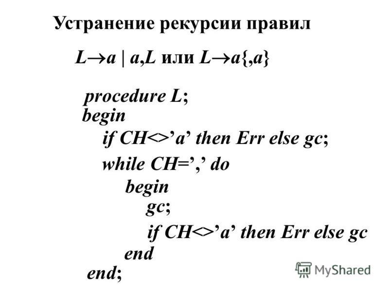 L a   a,L или L a{,a} Устранение рекурсии правил procedure L; begin if CH<>a then Err else gc; while CH=, do begin gc; if CH<>a then Err else gc end end;