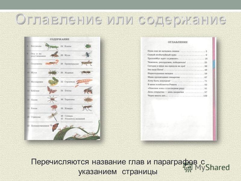 Перечисляются название глав и параграфов с указанием страницы