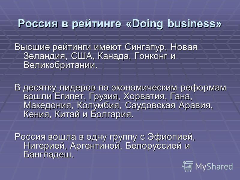 Россия в рейтинге «Doing business» Высшие рейтинги имеют Сингапур, Новая Зеландия, США, Канада, Гонконг и Великобритании. В десятку лидеров по экономическим реформам вошли Египет, Грузия, Хорватия, Гана, Македония, Колумбия, Саудовская Аравия, Кения,