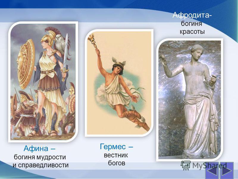Афина – богиня мудрости и справедливости Афродита- богиня красоты Гермес – вестник богов