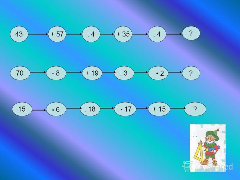 43+ 57: 4+ 35: 4 ? 70- 8+ 19: 3? 2 15: 18 17+ 15? 6