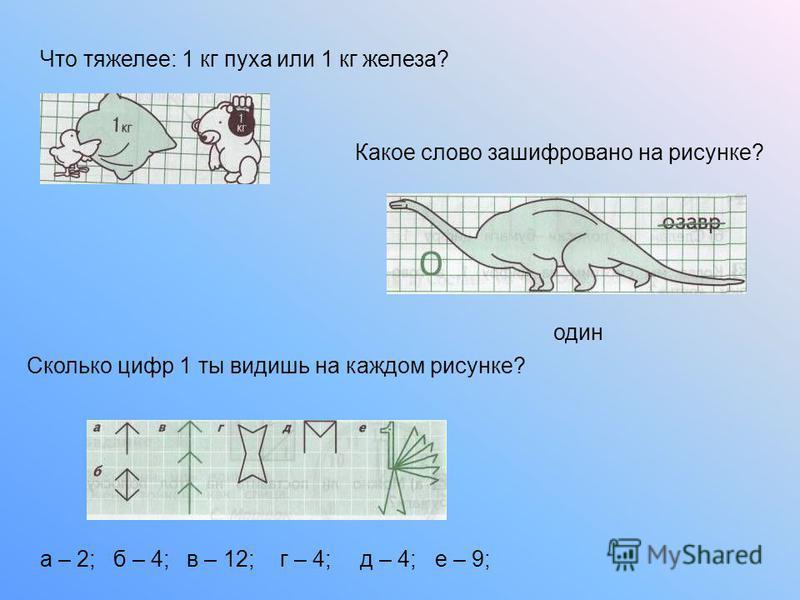 Что тяжелее: 1 кг пуха или 1 кг железа? Какое слово зашифровано на рисунке? Сколько цифр 1 ты видишь на каждом рисунке? один а – 2;б – 4;в – 12;г – 4;д – 4;е – 9;