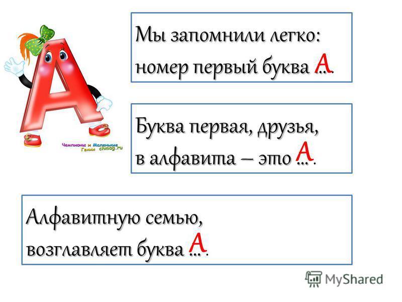 Мы запомнили легко: номер первый буква … номер первый буква …. Буква первая, друзья, в алфавита – это … в алфавита – это …. Алфавитную семью, возглавляет буква … возглавляет буква …. А А А