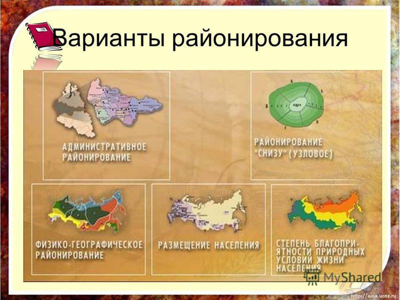 Варианты районирования