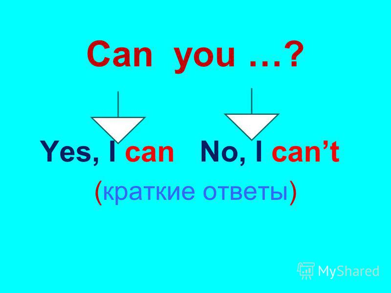 Can you …? Yes, I can No, I cant (краткие ответы)