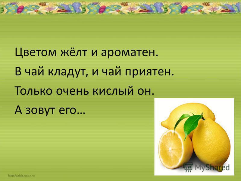 Цветом жёлт и ароматен. В чай кладут, и чай приятен. Только очень кислый он. А зовут его…
