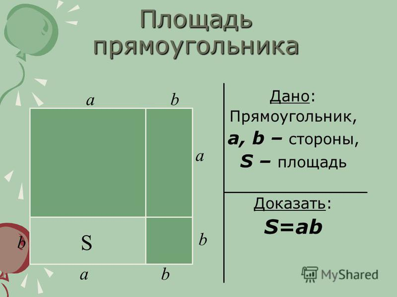 Площадь прямоугольника Дано: Прямоугольник, a, b – стороны, S – площадь Доказать: S=ab S b a ab a b b