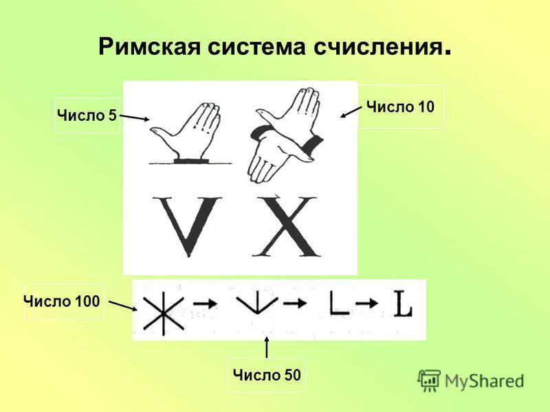 Римская система счисления. Число 5 Число 10 Число 50 Число 100