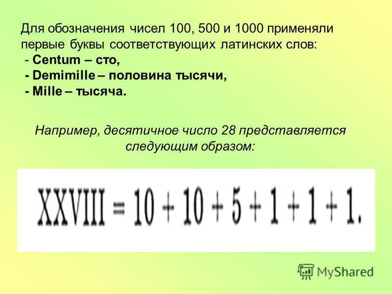 Для обозначения чисел 100, 500 и 1000 применяли первые буквы соответствующих латинских слов: - Centum – сто, - Demimille – половина тысячи, - Mille – тысяча. Например, десятичное число 28 представляется следующим образом: